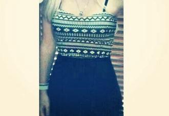 dress hipster black and white 2013 summer summer dress tribal print dress swag