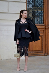 mini bag,lace skirt,peplum,black top,neoprene,black coat,nude high heels,dress,coat,shoes,bag,jewels,mini shoulder bag