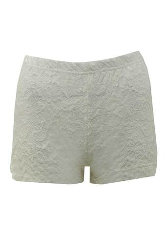 Nona Lace High Waisted Hotpants in White