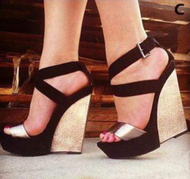 f85857792481 shoes black and gold summer wedges black and gold heels