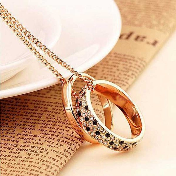 rhinestone jewels crystal pendant banggood double rings long necklace