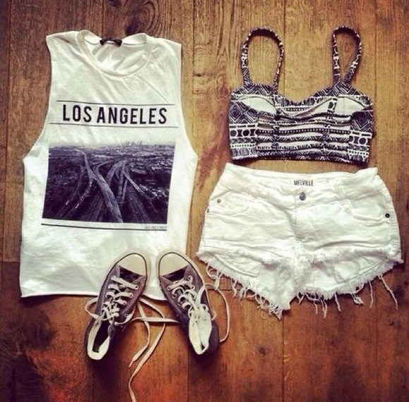 shorts jewels shoes top clothes fashion style black white t-shirt corset top