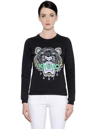 sweatshirt embroidered tiger cotton black sweater
