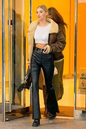 jacket,elsa hosk,model off-duty,pants,crop tops,top,fall outfits