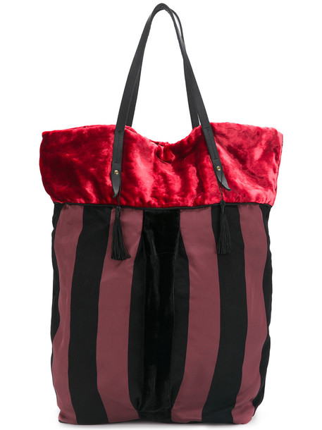 Forte Forte - striped shopper tote - women - Viscose/Silk/Leather/Cupro - One Size, Red, Viscose/Silk/Leather/Cupro