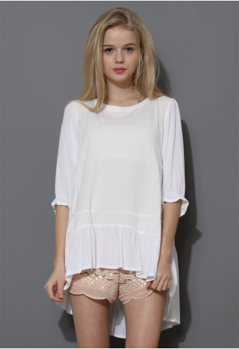 Cozy My Fav White Dolly Hi-Lo Top  - Retro, Indie and Unique Fashion