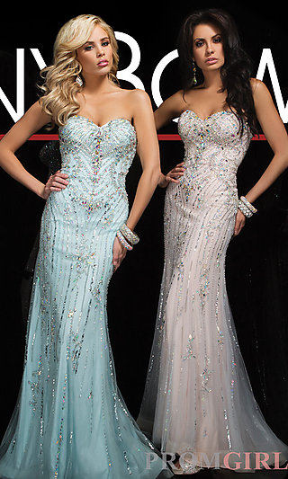 Prom Dresses, Celebrity Dresses, Sexy Evening Gowns - PromGirl: Long Beaded Strapless Sweetheart Gown