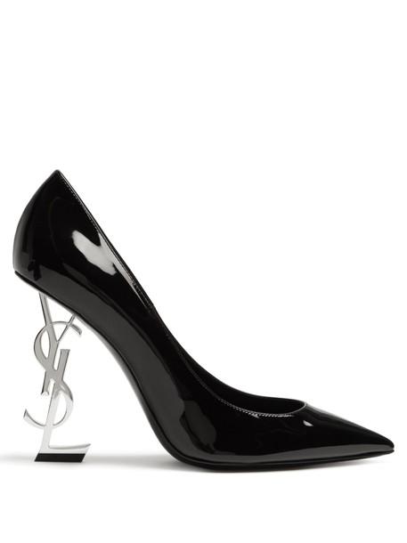 Saint Laurent heel pumps leather silver black shoes