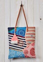 bag,trendy,dreamy,boho chic,tote bag,beach,patchwork,tassel,bohemian,purse,colorful,unique bag,bohomiam style