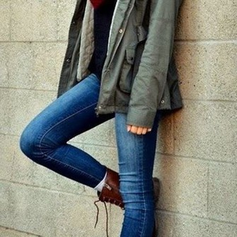 scarf shoes jacket jeans brown boots scarf red