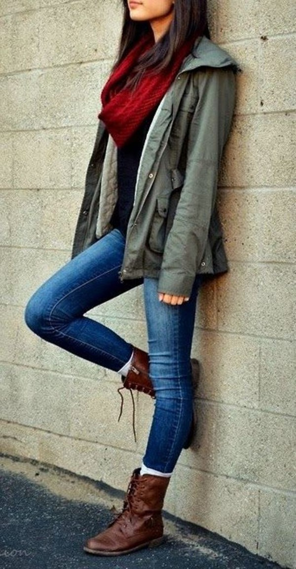 jacket red scarf brown boots jeans scarf shoes