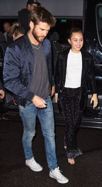 pants top liam hemsworth miley cyrus menswear bomber jacket
