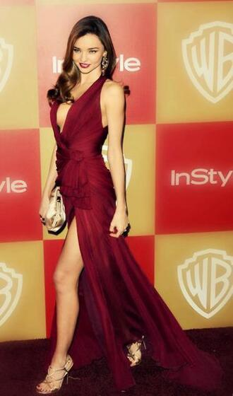 dress burgundy miranda kerr long red dress gold raspberry color hat