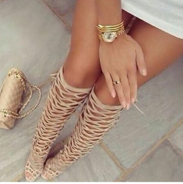 shoes heels knee high beige