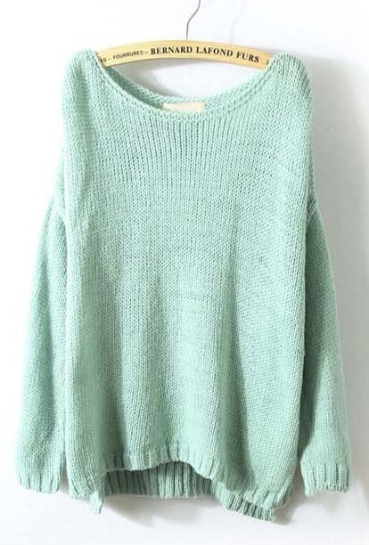 7973d7febb2 Mint Green Long Sleeve Split Loose Pullovers Sweater - Sheinside.com
