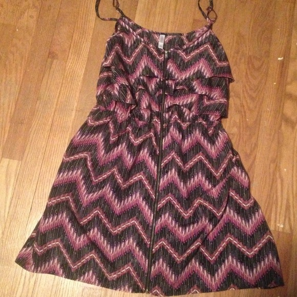 Zig zag pink purple and grey dress. from mallory's closet on poshmark