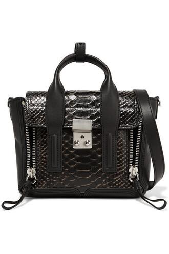 snake mini matte bag leather black