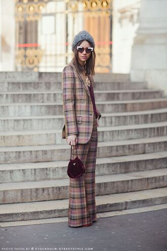 pants plaid plaid pants plaid blazer wide-leg pants matching set power suit streetstyle two piece pantsuits bag sunglasses