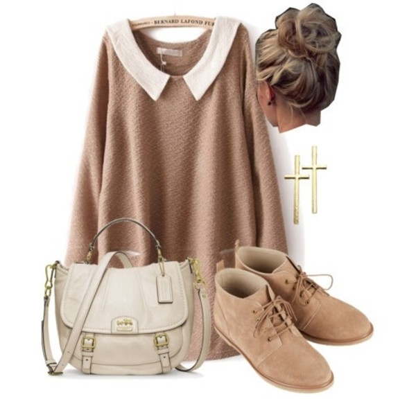 sweater bernard lafond hipster cute white collar beige sweater hipster shoes caramel shoes