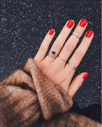 jewels forever 21 ring knuckle ring diamond ring stacked ring gold ring gold gold jewelry red nails
