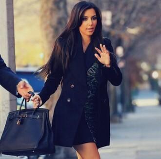 coat black kim kardashian kim kardashian style