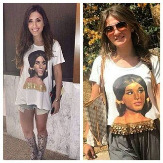 t-shirt soad hosny egyptian actress white t-shirt cool