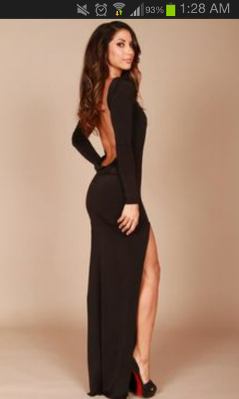 dress open back ebony lace ebonylace-streetfashion Long sleeve long dress