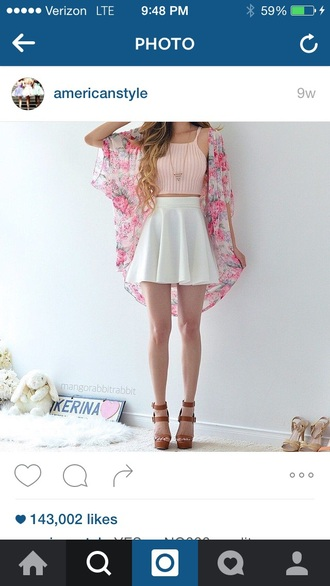 skirt white skater skirt crop tops pink pink top halter neck cardigan skater skirt white skirt circle skirt knitted crop top cute outfits jacket