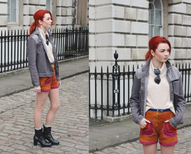 hannah louise fashion blogger shorts rust denim jacket grey jacket coat jacket sweater shoes