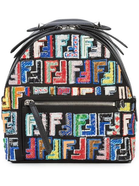 Fendi mini women backpack mini backpack leather black bag