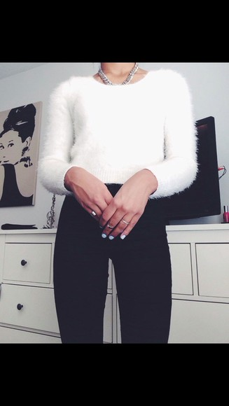 jeans black jeans white jumper white nail polish jumper white fluffy jumper silver jewelry