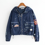 jacket,stars,navy,space,windbreaker,galazy,outer space,space grunge,raincoat,blue,magic,planets,grunge,cute,cool,bomber jacket,pinterest outfit