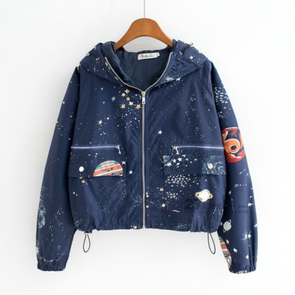 Jacket Stars Navy Space Windbreaker Galazy Outer Space Space Grunge Raincoat Blue