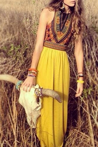 dress boho top tank top taylor swift jewels maxi dress prom dress red dress yellow dress yellow sandals earrings sunglasses statement necklace