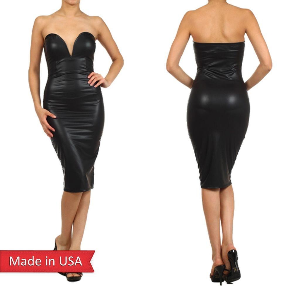 Black Faux Leather Sexy Strapless Sweetheart Neckline w/ Wire Bodycon Dress USA