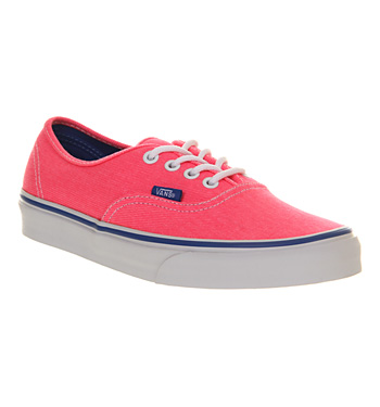 Vans Authentic Neon Pink Palace Blue Twill - Unisex Sports