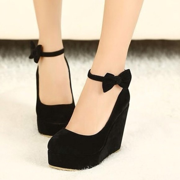 shoes wedges high heels black wedges