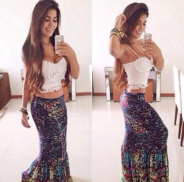 skirt maxi skirt blouse