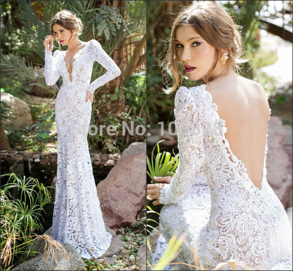 Aliexpress.com : buy 2015 generous vestido de noiva floor length full sleeve sexy v neck appliques backless high quality mermaid lace wedding dresses from reliable wedding dress necklaces suppliers on rose wedding dress co., ltd