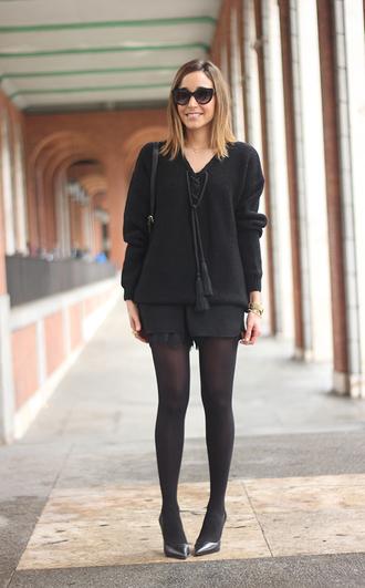 besugarandspice blogger shorts sunglasses black jumper