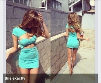 dress mint bandage dress cut-out cutout front short sleeve bandeau mini dress short