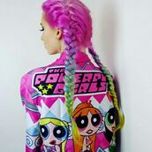 jacket,the powerpuff girls,power puff girls,pink,green,yellow,orange,pink jacket,the powerpuff girls jacket,cartoon