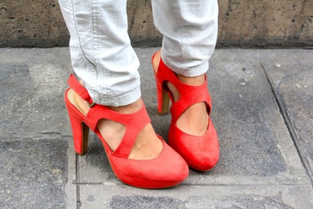 red shoes coral shoes high heels suede