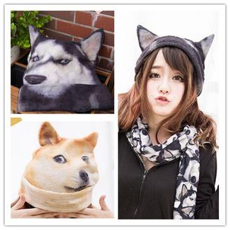 hat dog husky funny kawaii ears cute fashion style fall outfits winter outfits beanie japanese fashion