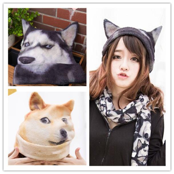 hat dog husky funny kawaii ears cute fashion style fall outfits winter  outfits beanie japanese fashion fc996ad60d7