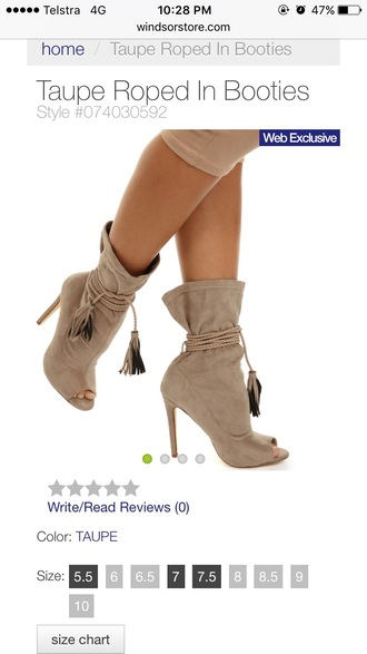 shoes taupe taupe boots tassel tasseled boots heels booties heel boots open toes peep toe boots nude boots