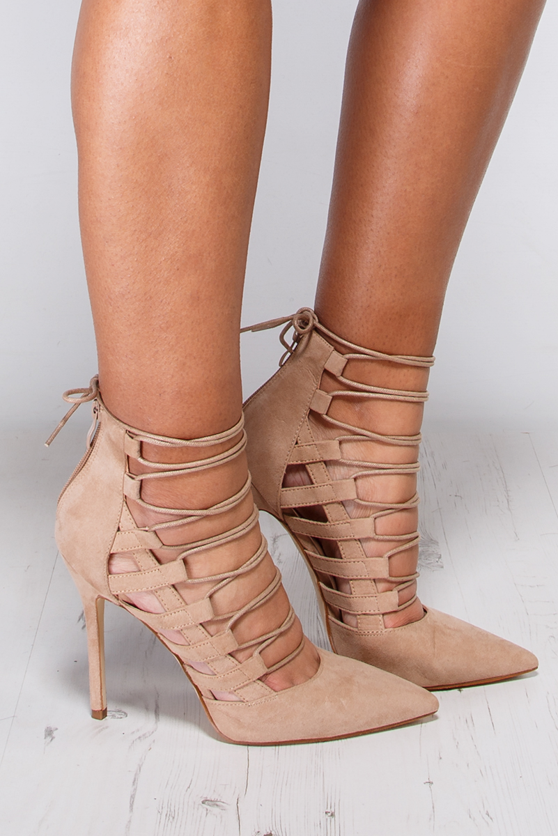 Nude Lace Up Pointed High Heels at misspap.co.uk
