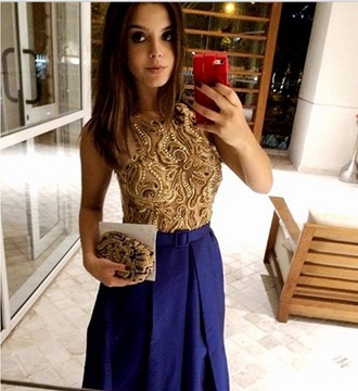 dress celebrity style steal golden beaded dress embellished beaded top bodice two parts blue skirt golden top beaded embellishment