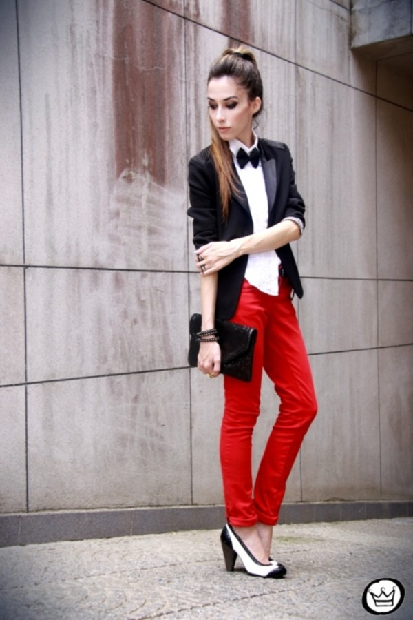 red jeans clutch heels pants tuxedo shoes