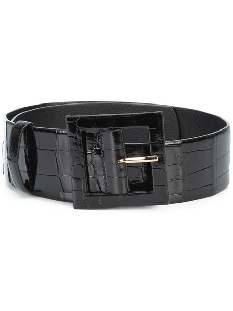oscar de la renta women thick belt waist belt leather black